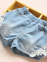 New 2016 Summer Fashion Girls Lace Flower Denim Pocket Short Jeans Pants Baby Casual Trousers Kids Shorts