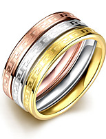 New 3pcs Luxury Noble Great Wall 3 Color Titanium Steel Fashion Ring Set