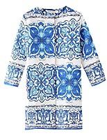 Women's Floral Blue Coat,Street chic Long Sleeve Cotton