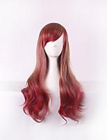 les femmes à long vague de corps synthétique perruque de cheveux vin rouge