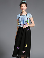 Women's Plus Size Elegant Vintage Hollow Patchwork Embroidery 3D Butterfly  Long Dress