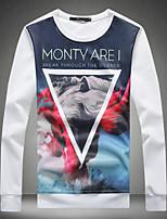 Men's Print Casual T-Shirt,Cotton Long Sleeve-Black / White