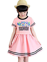 Girl's Green / Pink / White Dress Cotton Summer