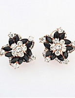 Famous Brand Summer Style Colorful Rhinestone Fashion Flowers Alloy Studs Earrings Women Party Jewelry