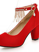 Women's Shoes Leatherette Chunky Heel Heels Heels Wedding / Office & Career / Party & Evening Black / Blue / Red