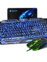 MK200 3 colori usb led luminosi di tastiera e mouse da gioco combo retroilluminati set