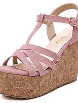 Women's Shoes Fleece Summer Wedges / Heels Outdoor / Casual Wedge Heel Buckle Black / Pink