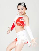 Latin Dance Outfits Children's Performance Milk Fiber Crystals/Rhinestones / Tassel(s) 4 Pieces Black / Red / White