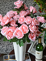Twelve Heads Silk Roses Artificial Flowers Multicolor Optional 1pc/set