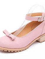 Women's Shoes Chunky Heel Round Toe Heels Dress / Casual Black / Pink / White