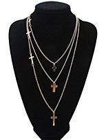 Punk Style Jewelry Statement Necklace Cross Gold Alloy Multi Layer Necklace For Lady Women Accessories