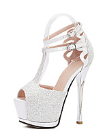 Women's Shoes Synthetic Stiletto Heel Heels / Open Toe Sandals Wedding / Office & Career / Party & Evening / Dress