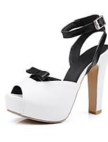 נעלי נשים-סנדלים-דמוי עור-עקבים-שחור / ורוד / לבן-חתונה / שמלה / קז'ואל / מסיבה וערב-עקב עבה