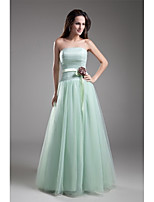 Formal Evening Dress A-line Strapless Floor-length Tulle with Flower(s) / Sash / Ribbon / Side Draping