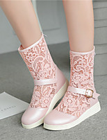 Women's Shoes Flat Heel Fashion Boots / Novelty / Round Toe / Closed Toe Boots Outdoor / Dress / CasualBlack / Pink /