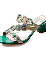 Women's Shoes Glitter Chunky Heel Comfort Sandals Wedding / Party & Evening / Dress / Casual Blue / Green / Almond