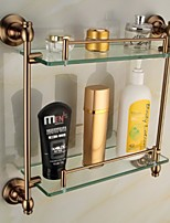 Antique Aluminum Bathroom Accessories Double Glass Shelf