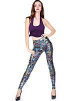 Women Solid Color / PU Legging,PU / Spandex Medium