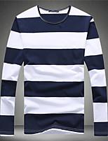 Gestreept-Informeel-Heren-Katoen-T-shirt-Lange mouw Zwart / Blauw / Rood