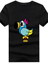 Print-Informeel / Sport-Heren-Katoen / Acryl-T-shirt-Korte mouw Zwart / Groen / Rood / Wit / Geel / Grijs