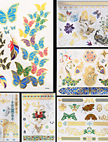 6PCS New Waterproof Body Art Women Gold Silver Butterfly Peacock Elephant Animals Totem Temporary Tattoo Stickers