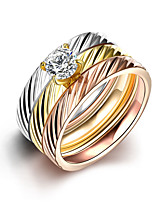 New 3pcs Luxury Noble Stripe Zricon Titanium Steel Wedding Ring Set