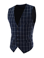 Men's Fashion Plaid And Polka Dot Single Breasted Gentleman Slim Fit Suit Vest,Cotton / Polyester