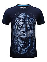 Herren T-shirt-Druck Freizeit / Sport Baumwolle / Acryl Kurz-Schwarz / Blau