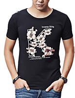 Print / Bloemen -Informeel / Grote maten-Heren-Katoen / Spandex-T-shirt-Korte mouw Zwart / Wit