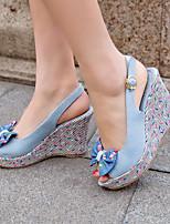 Women's Shoes Denim Flat Heel Wedges / Heels / Peep Toe / Platform Sandals / Heels Outdoor / Dress / Casual Black/1-1