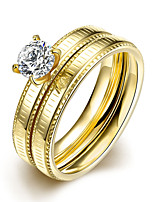 2016 Luxury Zircon Romantic Simple Gold Titanium Steel Wedding Couple Ring