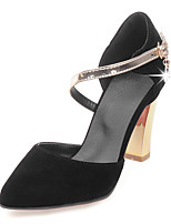 Women's Shoes Chunky Heel Ankle Strap / Pointed Toe Sandals Wedding / Party & Evening / Dress Black / Beige