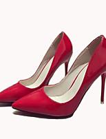 Calçados Femininos-Saltos-Saltos-Salto Agulha-Preto / Vermelho / Branco-Courino-Escritório & Trabalho / Social