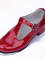 Non Customizable Women's Dance Shoes Tap Patent Leather Low Heel Black / Red