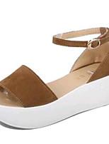 Women's Shoes Fleece Summer Creepers Outdoor / Casual Platform Buckle Black / Brown / Red