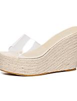 Damenschuhe-Sandalen-Outddor-Kunstleder-Keilabsatz-Komfort-Schwarz / Rosa / Weiß