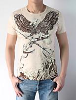 Masculino Camiseta Algodão / Elastano Estampado Manga Curta Casual / Esporte / Tamanhos Grandes-Verde / Bege