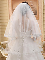 Wedding Veil Two-tier Elbow Veils Cut Edge / Lace Applique Edge