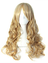 New European Lady Long Curly Blonde color Synthetic Hair