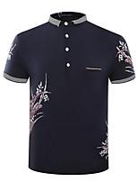 Men's Short Sleeve Polo,Cotton Casual / Plus Sizes Print