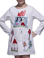 Girl's White Dress,Cartoon Cotton Spring / Fall