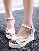 Chaussures Femme-Mariage / Habillé / Décontracté-Bleu / Rose / Blanc-Talon Compensé-Compensées-Sandales-Similicuir