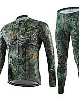 Men's Professional Cycling Long Sleeve Shirt Bicycle Breathable Quick Dry Jersey + Bike 3D Cushion Pad Trouser Suit