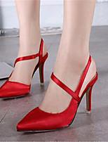 Women's Shoes Silk Stiletto Heel Heels Heels Wedding / Party & Evening Black / Red