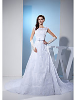 A-line Wedding Dress-Court Train Jewel Lace / Satin