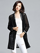Women's Solid Pink / White / Black Trench Coat,Plus Size / Street chic Long Sleeve Polyester / Nylon