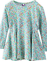 Girl's Green Dress,Floral Cotton Winter