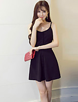 Women's Simple Solid Shirt Dress,Round Neck Mini Polyester