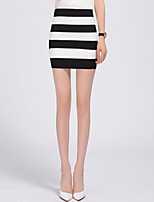 Women's Striped Pink / Black Package Hip Skirts,Sexy / Casual / Day Mini
