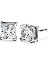 TOP Sale Trendy Real 925 Silver Rhinestone Zircon Square Stud Earrings Women Man Unisex Jewelry